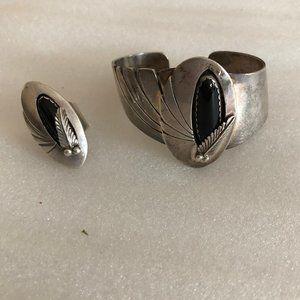 Vintage 925 Sterling Onyx Cuff  Bracelet & Ring